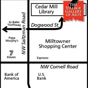 Image of hand drawn map of Village Gallery location