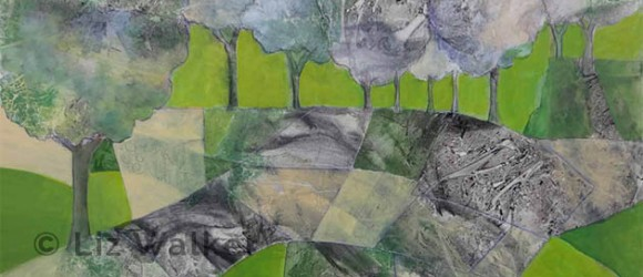 Image of acrylic painting in greens and grays by Liz Walker