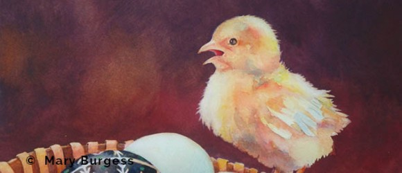 Image of watercolor painting by Mary Burgess of a chick and basket of eggs