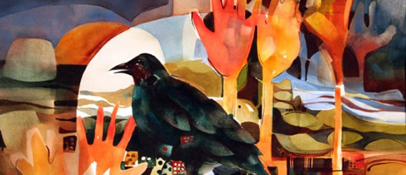 Image of painting by Chris Keylock Williams with a crow and hand shapes