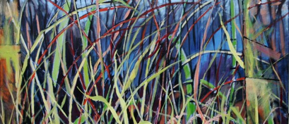 Image of a colorful painting with grasses called Farm Grassess by Margaret Terrall