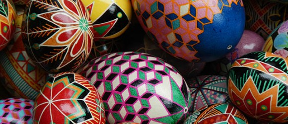 Image of Ukrainian Psyanka Painted eggs by Mary Burgess